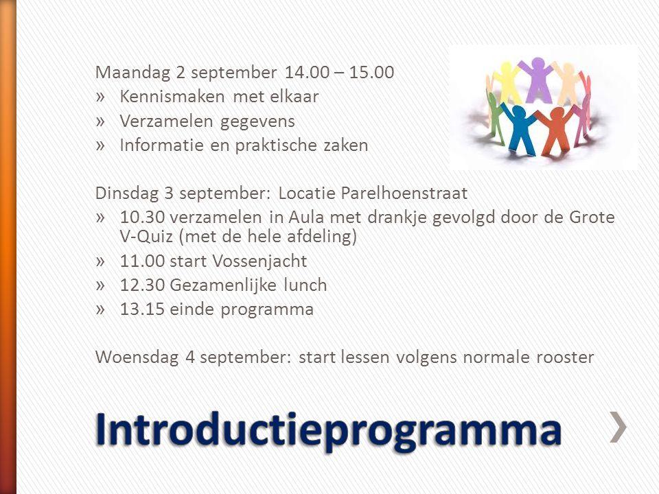 Maandag 2 september 14.00 – 15.00 » Kennismaken met elkaar » Verzamelen gegevens » Informatie en praktische zaken Dinsdag 3 september: Locatie Parelho