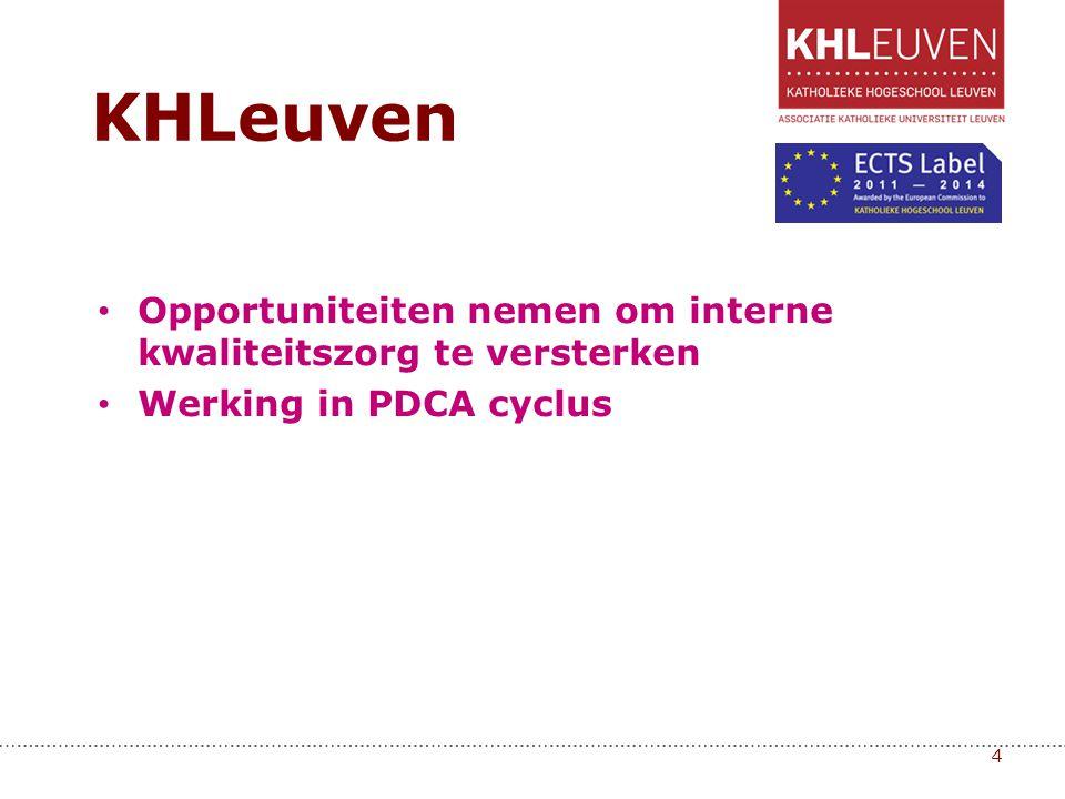 • Opportuniteiten nemen om interne kwaliteitszorg te versterken • Werking in PDCA cyclus 4 KHLeuven