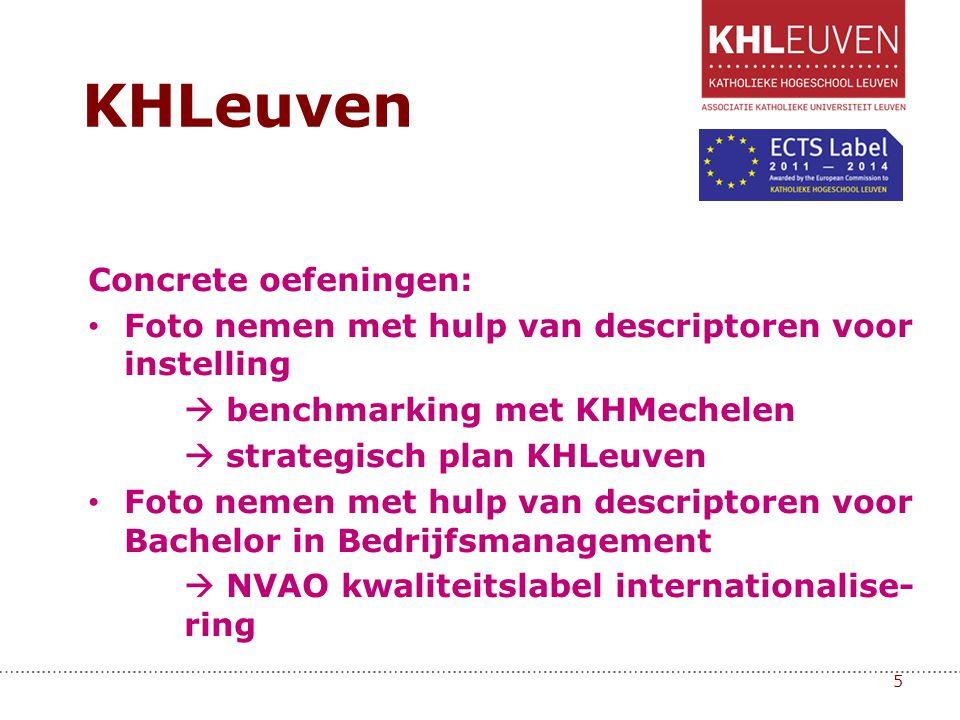 Concrete oefeningen: • Foto nemen met hulp van descriptoren voor instelling  benchmarking met KHMechelen  strategisch plan KHLeuven • Foto nemen met