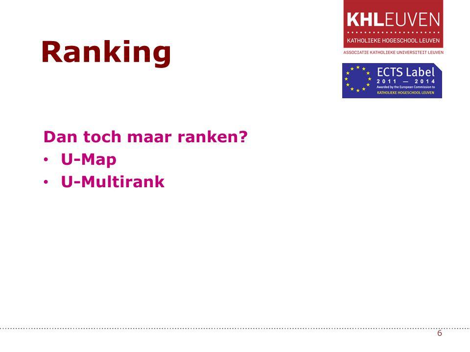 Dan toch maar ranken? • U-Map • U-Multirank 6 Ranking