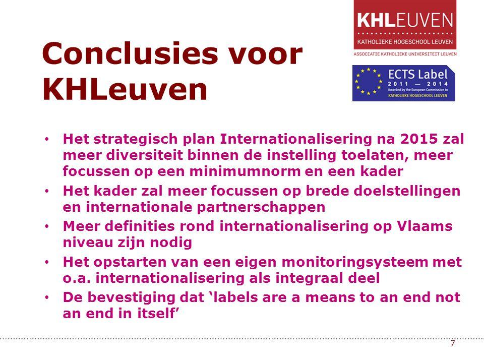 • Het strategisch plan Internationalisering na 2015 zal meer diversiteit binnen de instelling toelaten, meer focussen op een minimumnorm en een kader