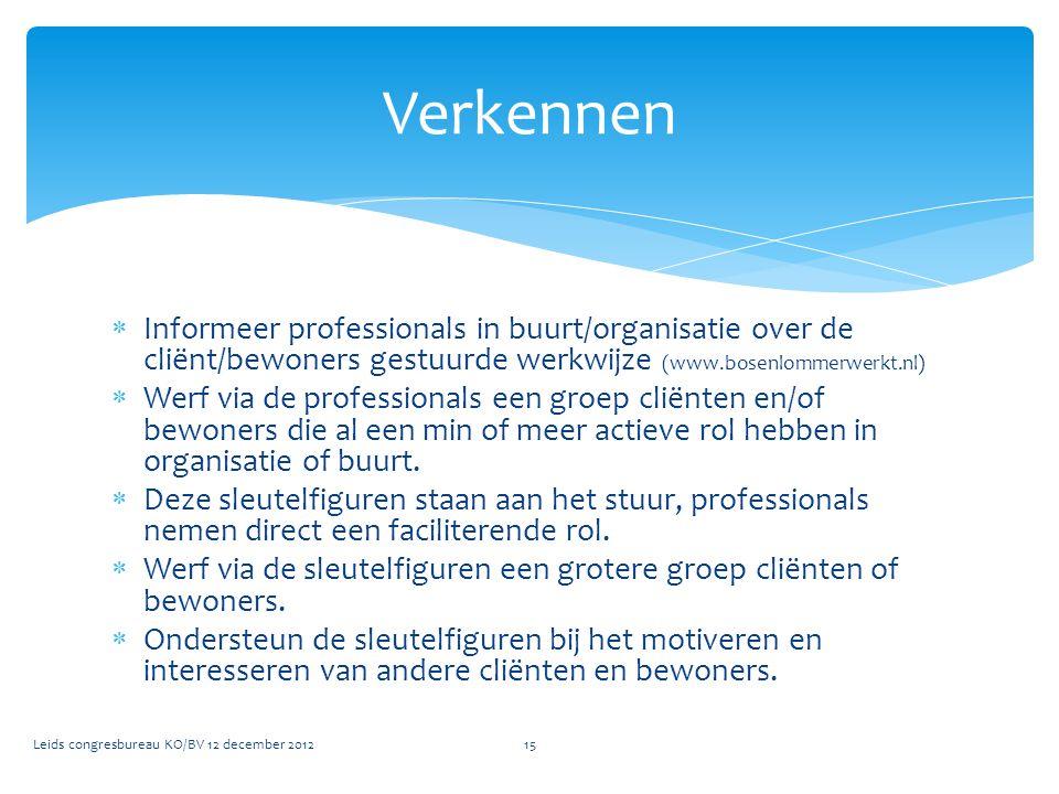  Informeer professionals in buurt/organisatie over de cliënt/bewoners gestuurde werkwijze (www.bosenlommerwerkt.nl)  Werf via de professionals een g
