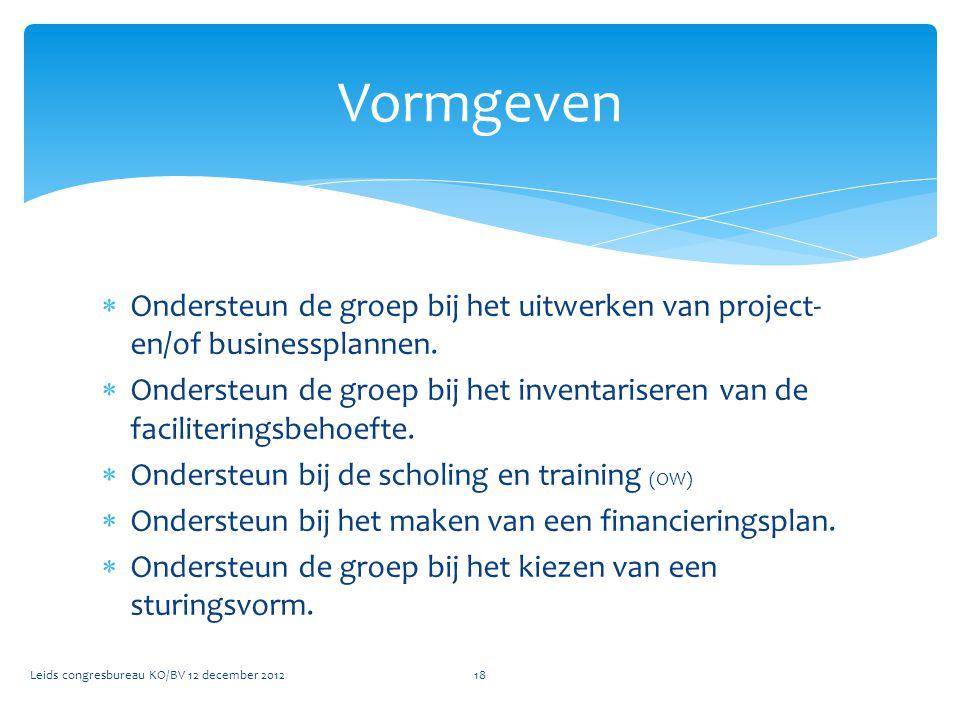  Ondersteun de groep bij het uitwerken van project- en/of businessplannen.  Ondersteun de groep bij het inventariseren van de faciliteringsbehoefte.