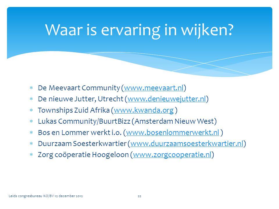  De Meevaart Community (www.meevaart.nl)www.meevaart.nl  De nieuwe Jutter, Utrecht (www.denieuwejutter.nl)www.denieuwejutter.nl  Townships Zuid Afr