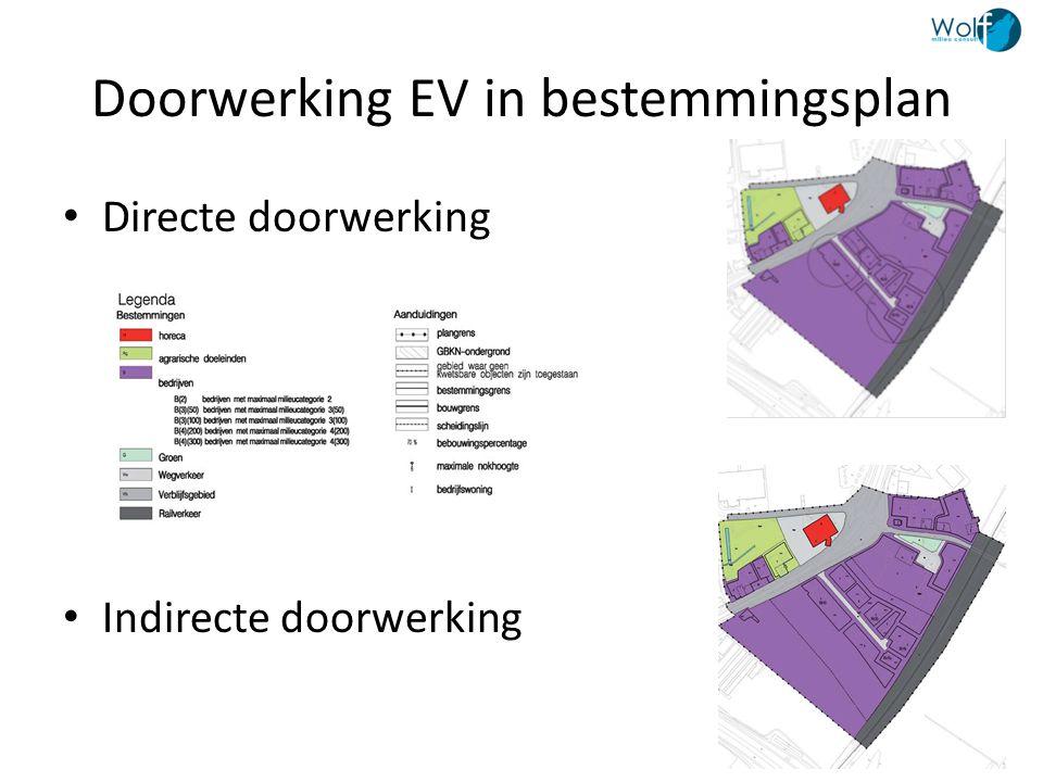 Doorwerking EV in bestemmingsplan • Directe doorwerking • Indirecte doorwerking