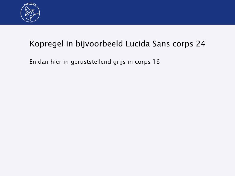 Kopregel in bijvoorbeeld Lucida Sans corps 24 En dan hier in geruststellend grijs in corps 18