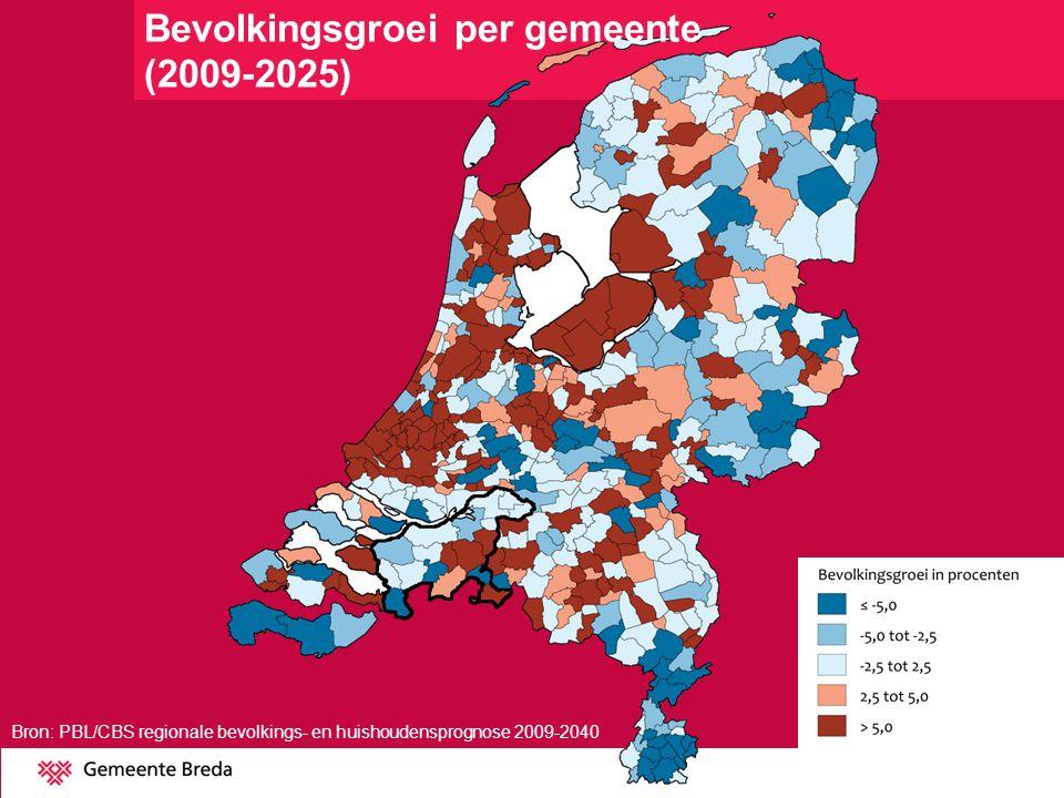 Bron: PBL/CBS regionale bevolkings- en huishoudensprognose 2009-2040 Bevolkingsgroei West-Brabant (2009-2025)