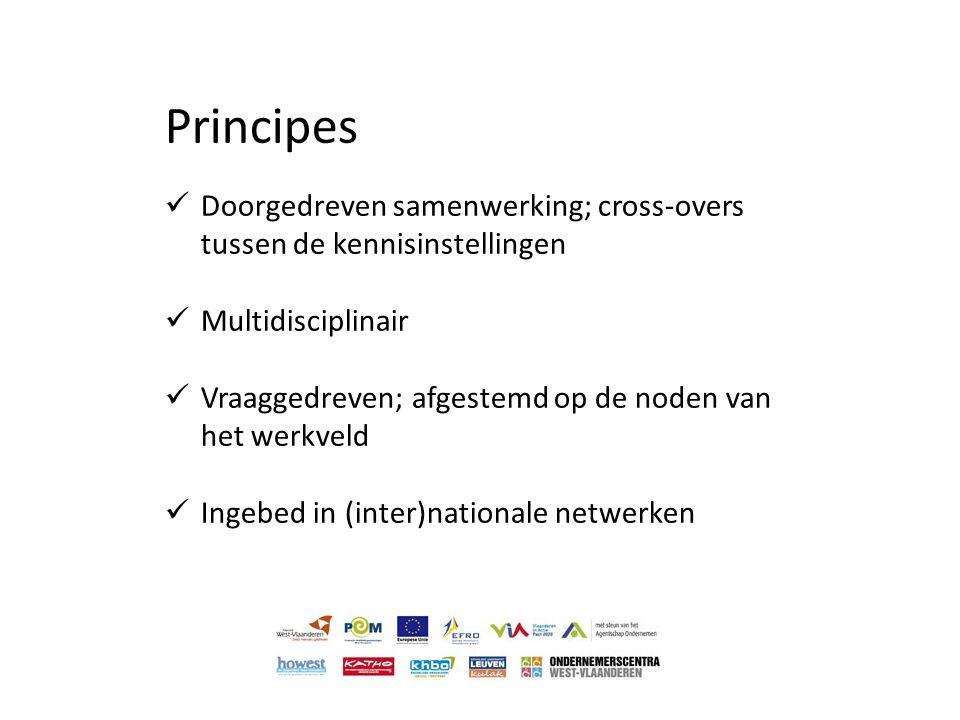 Principes  Doorgedreven samenwerking; cross-overs tussen de kennisinstellingen  Multidisciplinair  Vraaggedreven; afgestemd op de noden van het wer