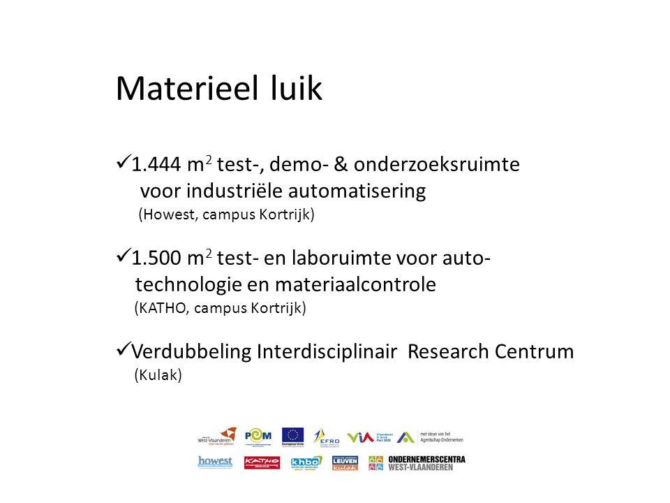 Materieel luik  1.444 m 2 test-, demo- & onderzoeksruimte voor industriële automatisering (Howest, campus Kortrijk)  1.500 m 2 test- en laboruimte v