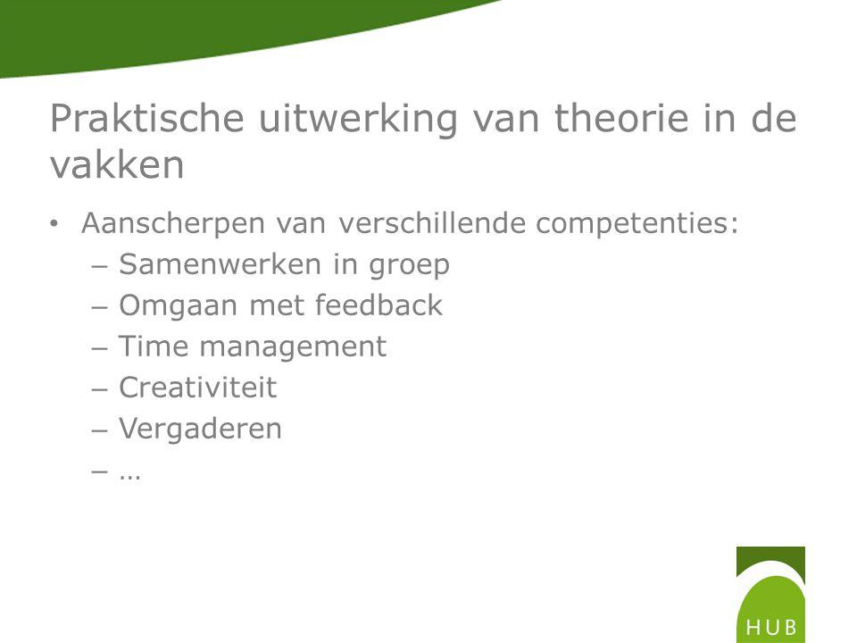 Praktische uitwerking van theorie in de vakken • Aanscherpen van verschillende competenties: – Samenwerken in groep – Omgaan met feedback – Time management – Creativiteit – Vergaderen – …