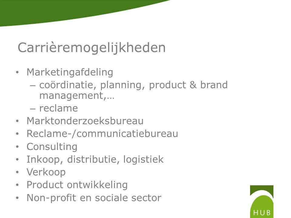 Carrièremogelijkheden • Marketingafdeling – coördinatie, planning, product & brand management,… – reclame • Marktonderzoeksbureau • Reclame-/communicatiebureau • Consulting • Inkoop, distributie, logistiek • Verkoop • Product ontwikkeling • Non-profit en sociale sector
