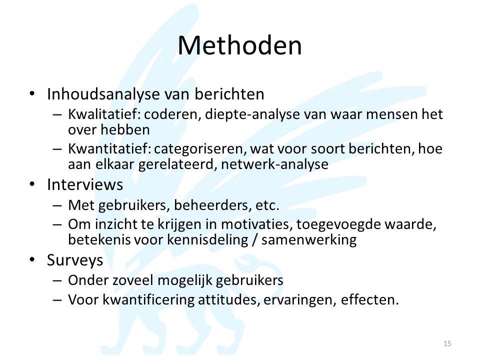Methoden • Inhoudsanalyse van berichten – Kwalitatief: coderen, diepte-analyse van waar mensen het over hebben – Kwantitatief: categoriseren, wat voor