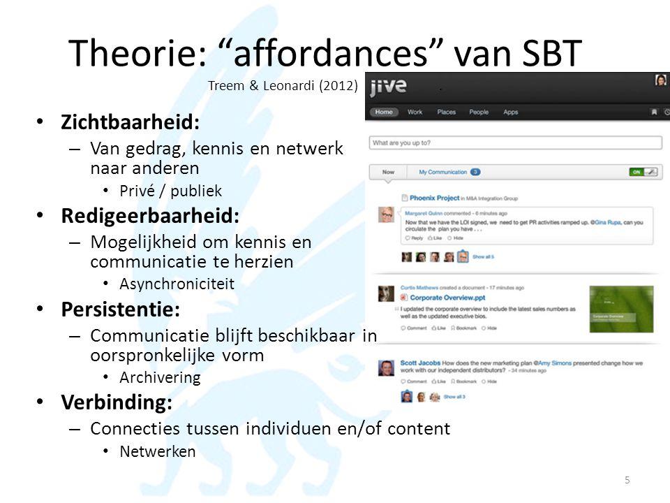 "Theorie: ""affordances"" van SBT Treem & Leonardi (2012). • Zichtbaarheid: – Van gedrag, kennis en netwerk naar anderen • Privé / publiek • Redigeerbaar"