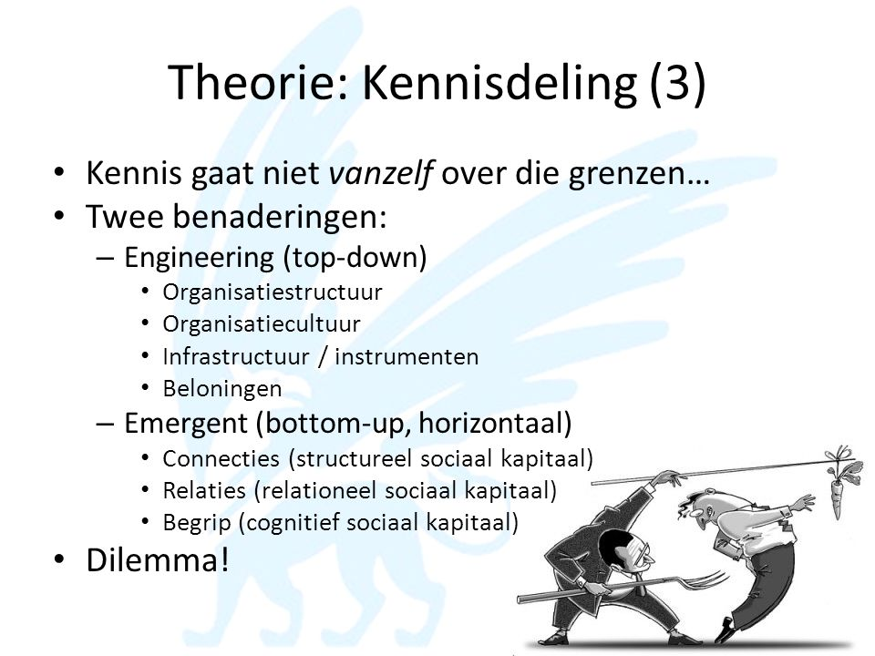 Theorie: Kennisdeling (3) • Kennis gaat niet vanzelf over die grenzen… • Twee benaderingen: – Engineering (top-down) • Organisatiestructuur • Organisa