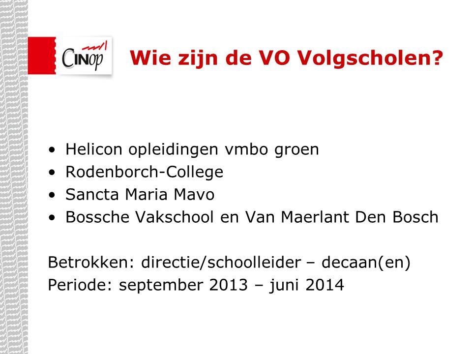 Wie zijn de VO Volgscholen? •Helicon opleidingen vmbo groen •Rodenborch-College •Sancta Maria Mavo •Bossche Vakschool en Van Maerlant Den Bosch Betrok