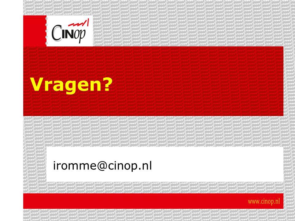 Vragen? iromme@cinop.nl