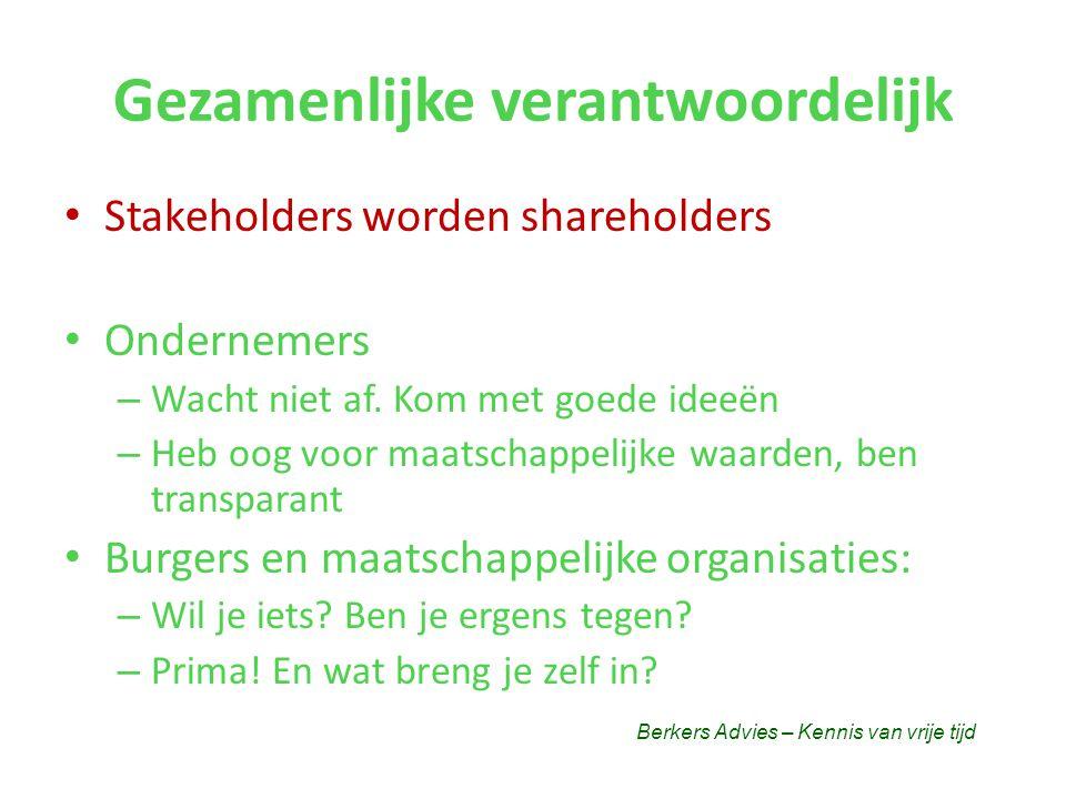 Gezamenlijke verantwoordelijk • Stakeholders worden shareholders • Ondernemers – Wacht niet af.