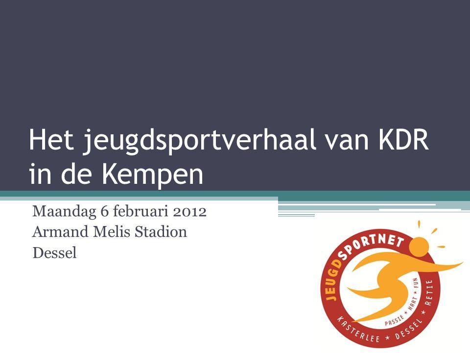 Het jeugdsportverhaal van KDR in de Kempen Maandag 6 februari 2012 Armand Melis Stadion Dessel