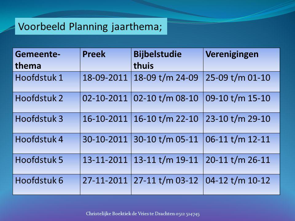 Voorbeeld Planning jaarthema; Gemeente- thema PreekBijbelstudie thuis Verenigingen Hoofdstuk 118-09-201118-09 t/m 24-0925-09 t/m 01-10 Hoofdstuk 202-1