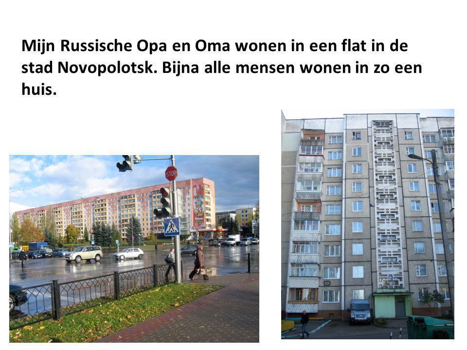 Mijn Russische Opa en Oma wonen in een flat in de stad Novopolotsk. Bijna alle mensen wonen in zo een huis.