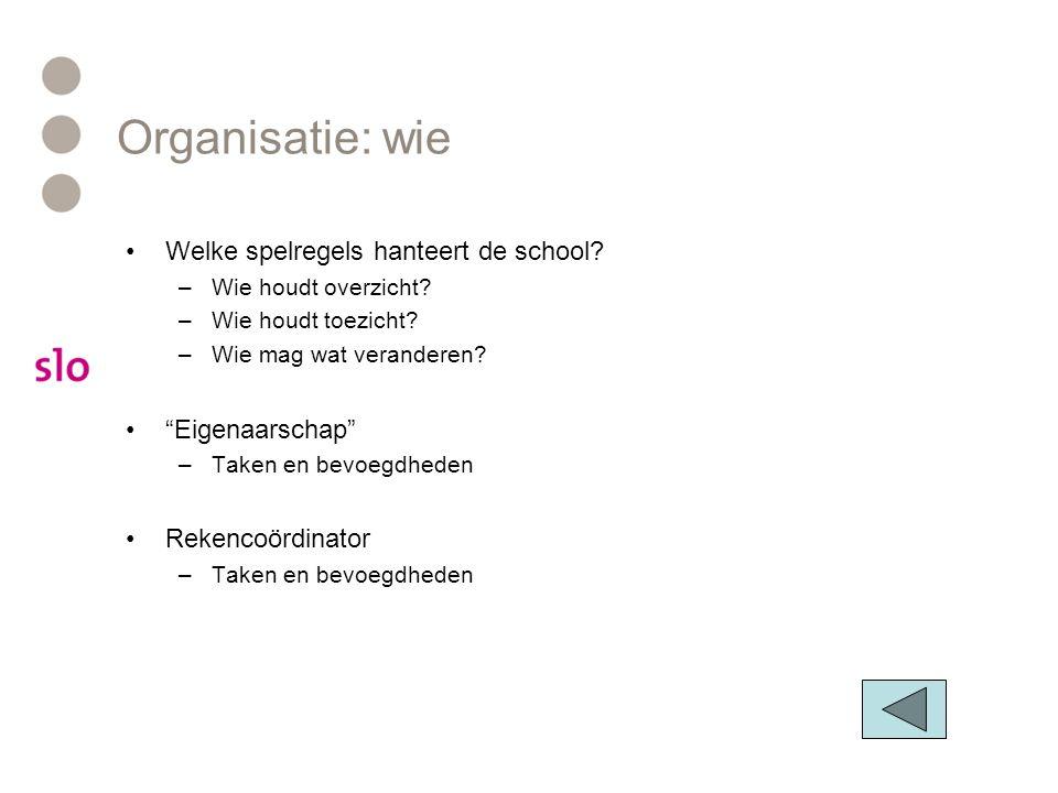 Organisatie: wie •Welke spelregels hanteert de school.