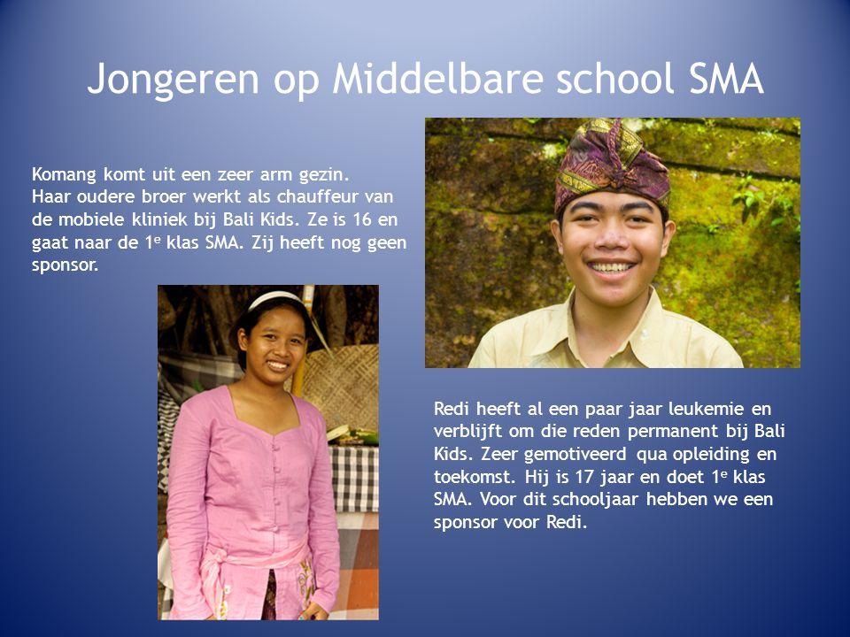 Jongeren op Middelbare school SMA Komang komt uit een zeer arm gezin.