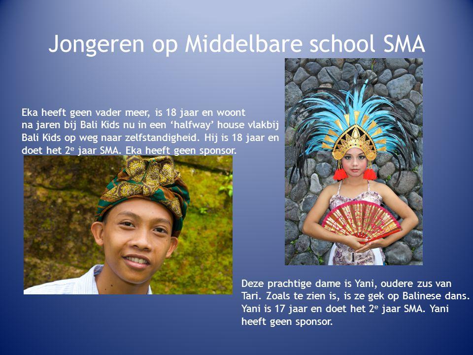 Jongeren op Middelbare school SMA Eka heeft geen vader meer, is 18 jaar en woont na jaren bij Bali Kids nu in een 'halfway' house vlakbij Bali Kids op weg naar zelfstandigheid.