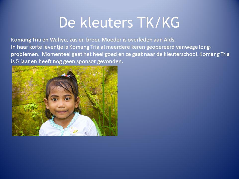 De kleuters TK/KG Komang Tria en Wahyu, zus en broer.