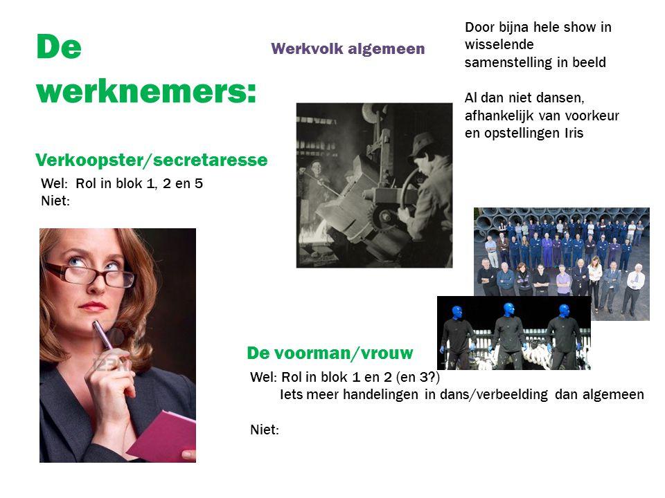De werknemers: De voorman/vrouw Verkoopster/secretaresse Werkvolk algemeen Door bijna hele show in wisselende samenstelling in beeld Al dan niet danse