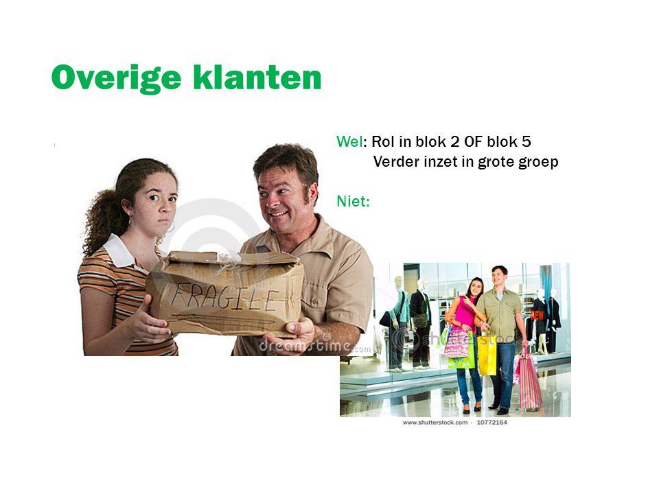 Overige klanten Wel: Rol in blok 2 OF blok 5 Verder inzet in grote groep Niet: