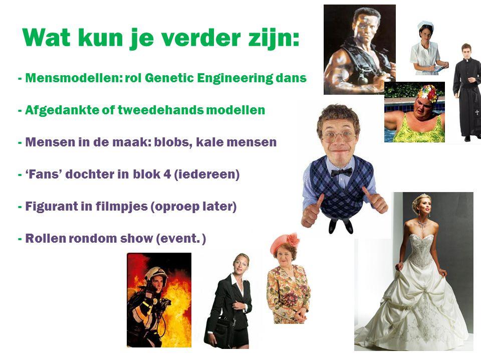 Wat kun je verder zijn: - Mensmodellen: rol Genetic Engineering dans - Afgedankte of tweedehands modellen - Mensen in de maak: blobs, kale mensen - 'F