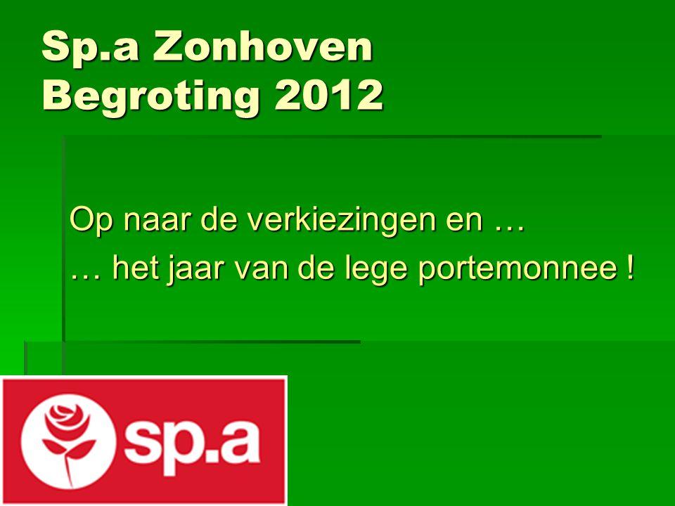 Sp.a Zonhoven Begroting 2012 Op naar de verkiezingen en … … het jaar van de lege portemonnee !