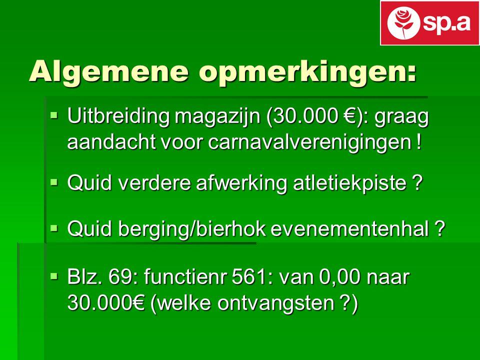 Algemene opmerkingen:  Uitbreiding magazijn (30.000 €): graag aandacht voor carnavalverenigingen .