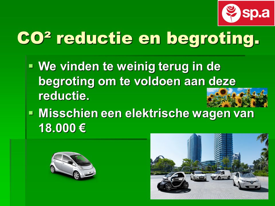CO² reductie en begroting.