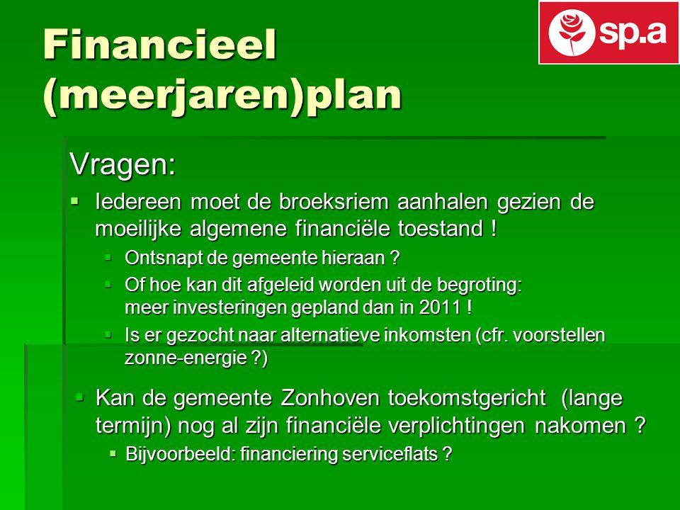 Financieel (meerjaren)plan Vragen:  Iedereen moet de broeksriem aanhalen gezien de moeilijke algemene financiële toestand .