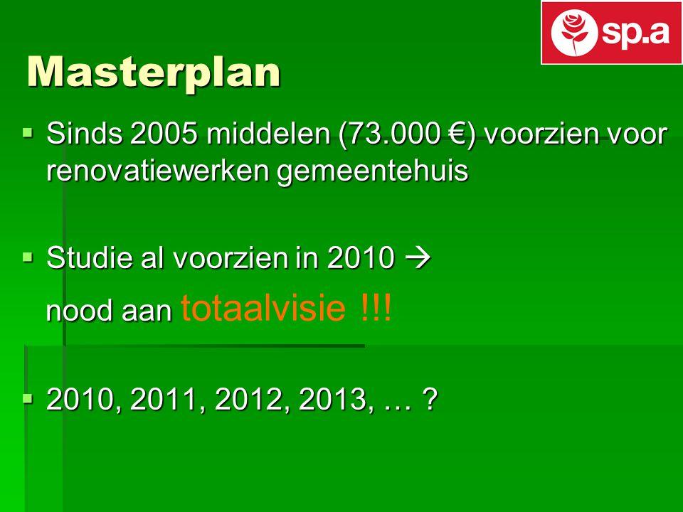 Masterplan  Sinds 2005 middelen (73.000 €) voorzien voor renovatiewerken gemeentehuis  Studie al voorzien in 2010  nood aan nood aan totaalvisie !!.