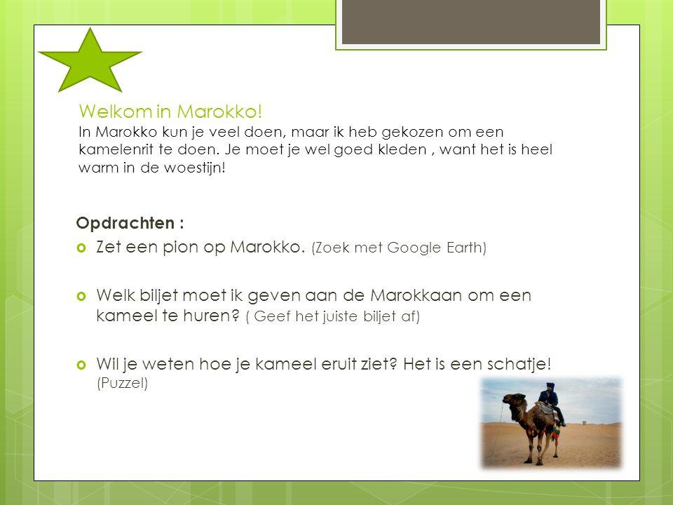 Welkom in Marokko! In Marokko kun je veel doen, maar ik heb gekozen om een kamelenrit te doen. Je moet je wel goed kleden, want het is heel warm in de
