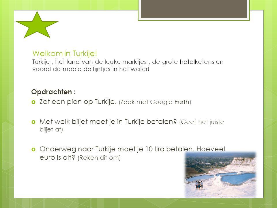 Welkom in Turkije! Turkije, het land van de leuke marktjes, de grote hotelketens en vooral de mooie dolfijntjes in het water! Opdrachten :  Zet een p