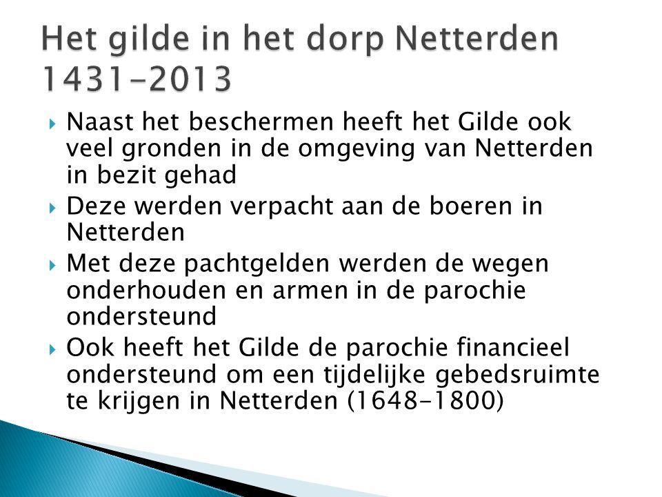  Naast het beschermen heeft het Gilde ook veel gronden in de omgeving van Netterden in bezit gehad  Deze werden verpacht aan de boeren in Netterden