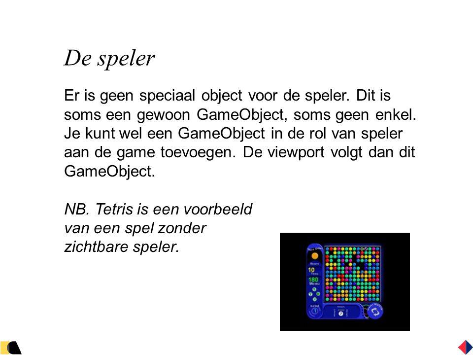 De speler Er is geen speciaal object voor de speler.