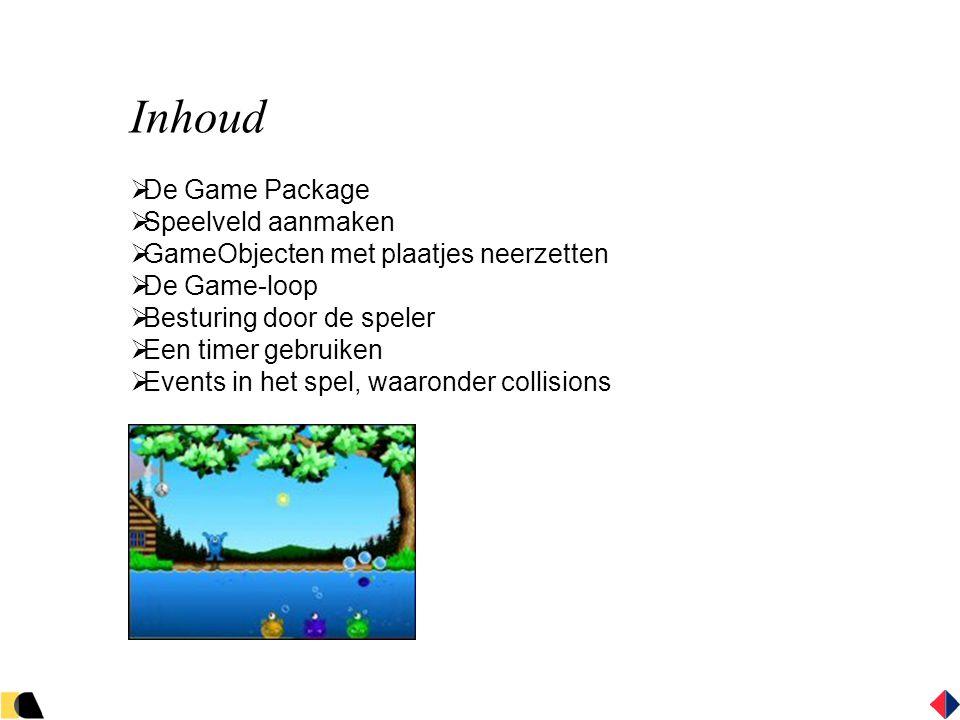 Inhoud  De Game Package  Speelveld aanmaken  GameObjecten met plaatjes neerzetten  De Game-loop  Besturing door de speler  Een timer gebruiken  Events in het spel, waaronder collisions