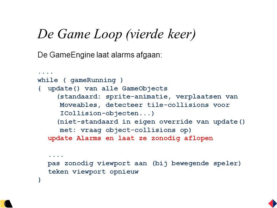 De Game Loop (vierde keer) De GameEngine laat alarms afgaan:....