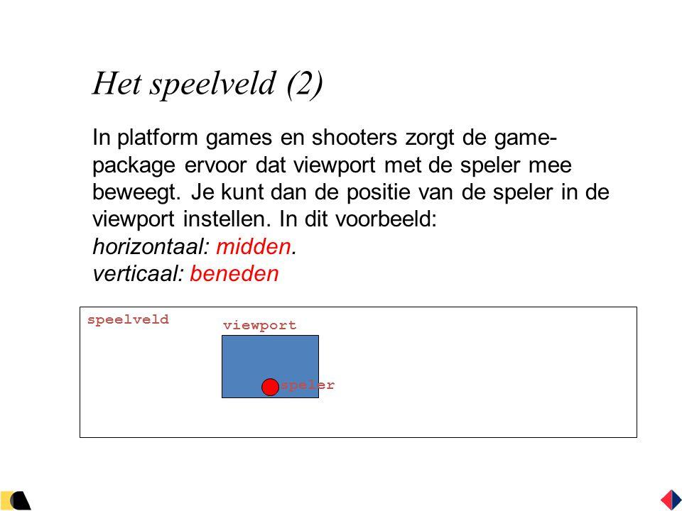 Het speelveld (2) In platform games en shooters zorgt de game- package ervoor dat viewport met de speler mee beweegt.