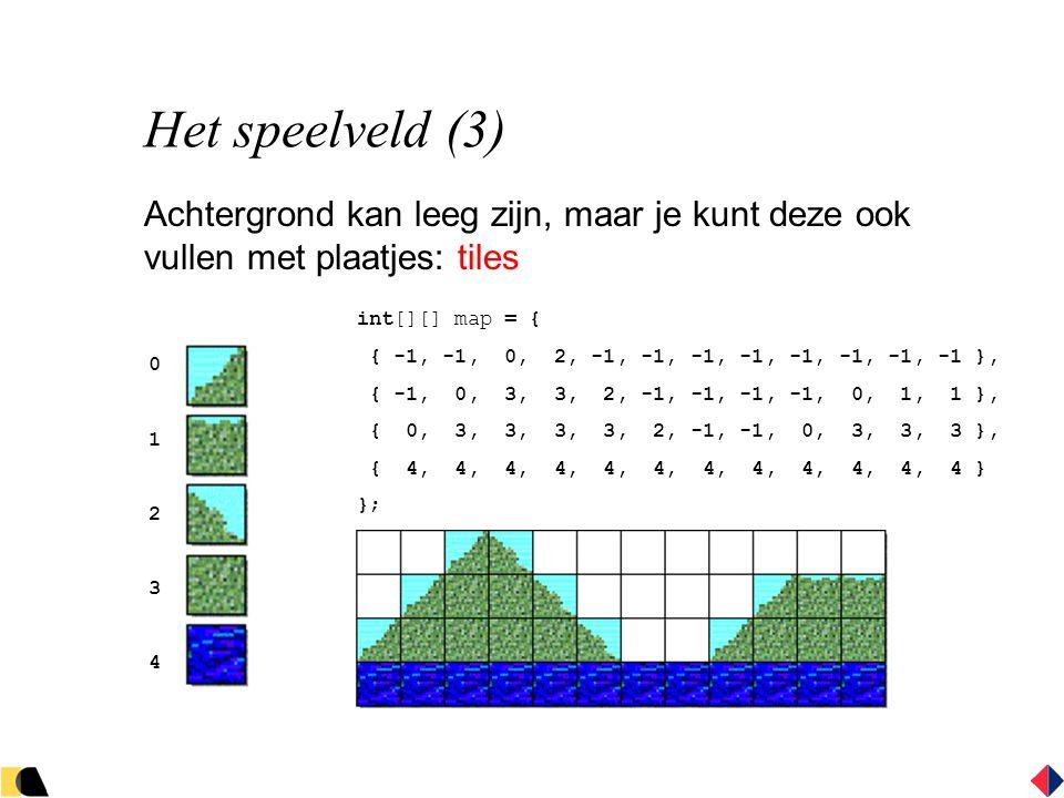 Het speelveld (3) Achtergrond kan leeg zijn, maar je kunt deze ook vullen met plaatjes: tiles int[][] map = { { -1, -1, 0, 2, -1, -1, -1, -1, -1, -1, -1, -1 }, { -1, 0, 3, 3, 2, -1, -1, -1, -1, 0, 1, 1 }, { 0, 3, 3, 3, 3, 2, -1, -1, 0, 3, 3, 3 }, { 4, 4, 4, 4, 4, 4, 4, 4, 4, 4, 4, 4 } }; 0123401234