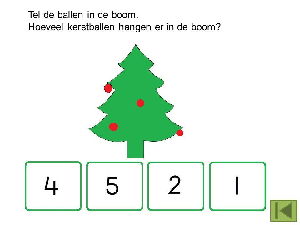 Tel de ballen in de boom. Hoeveel kerstballen hangen er in de boom?