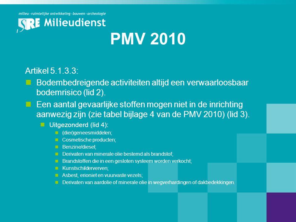 PMV 2010 Artikel 5.1.3.3:  Bodembedreigende activiteiten altijd een verwaarloosbaar bodemrisico (lid 2).  Een aantal gevaarlijke stoffen mogen niet