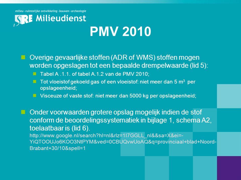 PMV 2010  Overige gevaarlijke stoffen (ADR of WMS) stoffen mogen worden opgeslagen tot een bepaalde drempelwaarde (lid 5):  Tabel A.1.1. of tabel A.
