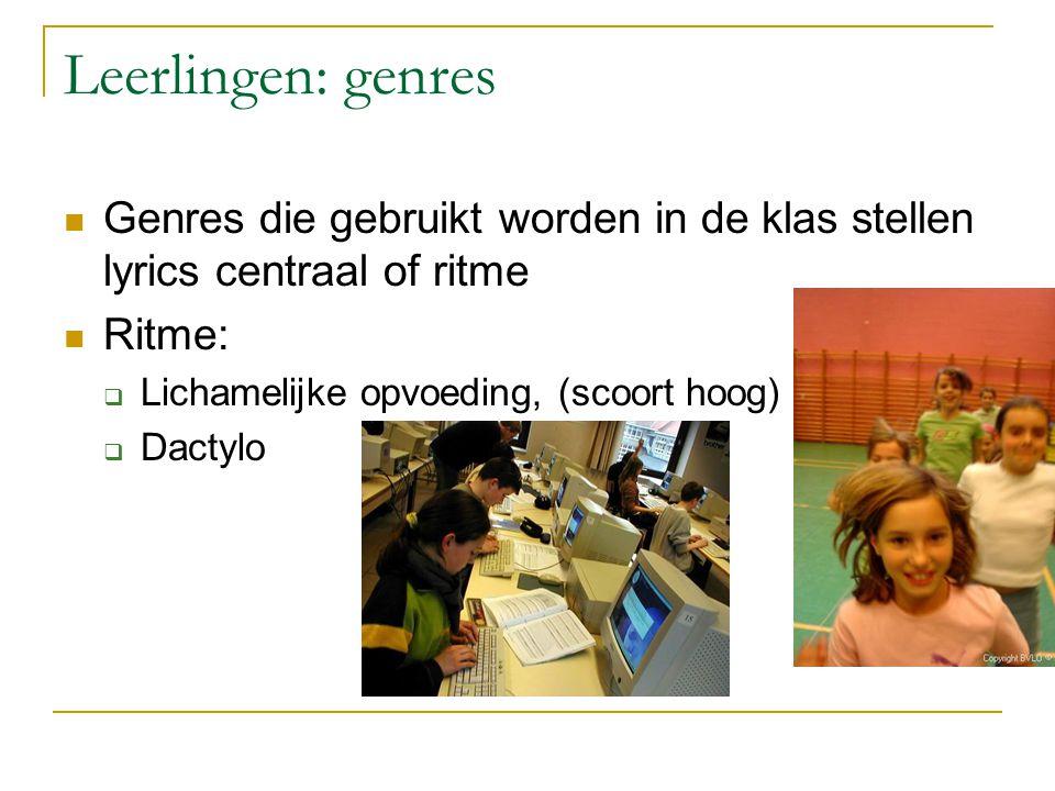 Leerlingen: genres  Genres die gebruikt worden in de klas stellen lyrics centraal of ritme  Ritme:  Lichamelijke opvoeding, (scoort hoog)  Dactylo