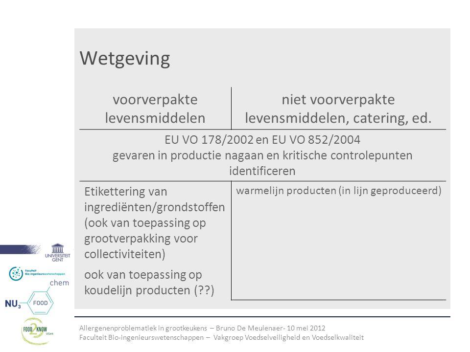 Allergenenproblematiek in grootkeukens – Bruno De Meulenaer- 10 mei 2012 Faculteit Bio-ingenieurswetenschappen – Vakgroep Voedselveiligheid en Voedselkwaliteit Wetgeving voorverpakte levensmiddelen niet voorverpakte levensmiddelen, catering, ed.
