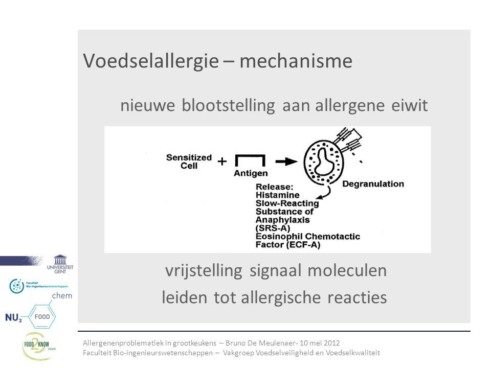 Allergenenproblematiek in grootkeukens – Bruno De Meulenaer- 10 mei 2012 Faculteit Bio-ingenieurswetenschappen – Vakgroep Voedselveiligheid en Voedselkwaliteit Voedselallergie – mechanisme nieuwe blootstelling aan allergene eiwit vrijstelling signaal moleculen leiden tot allergische reacties